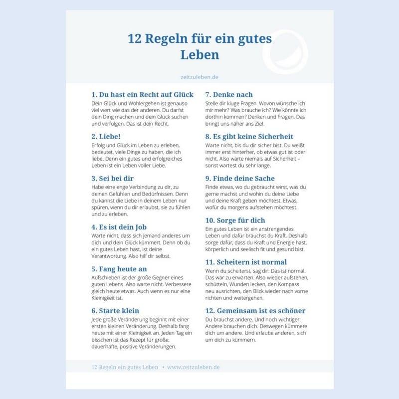 12 Regeln für ein gutes Leben (Poster) » Zeit zu leben