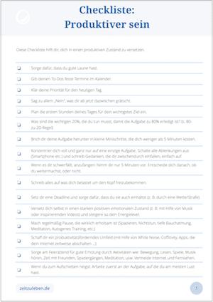 Checkliste Produktiver werden