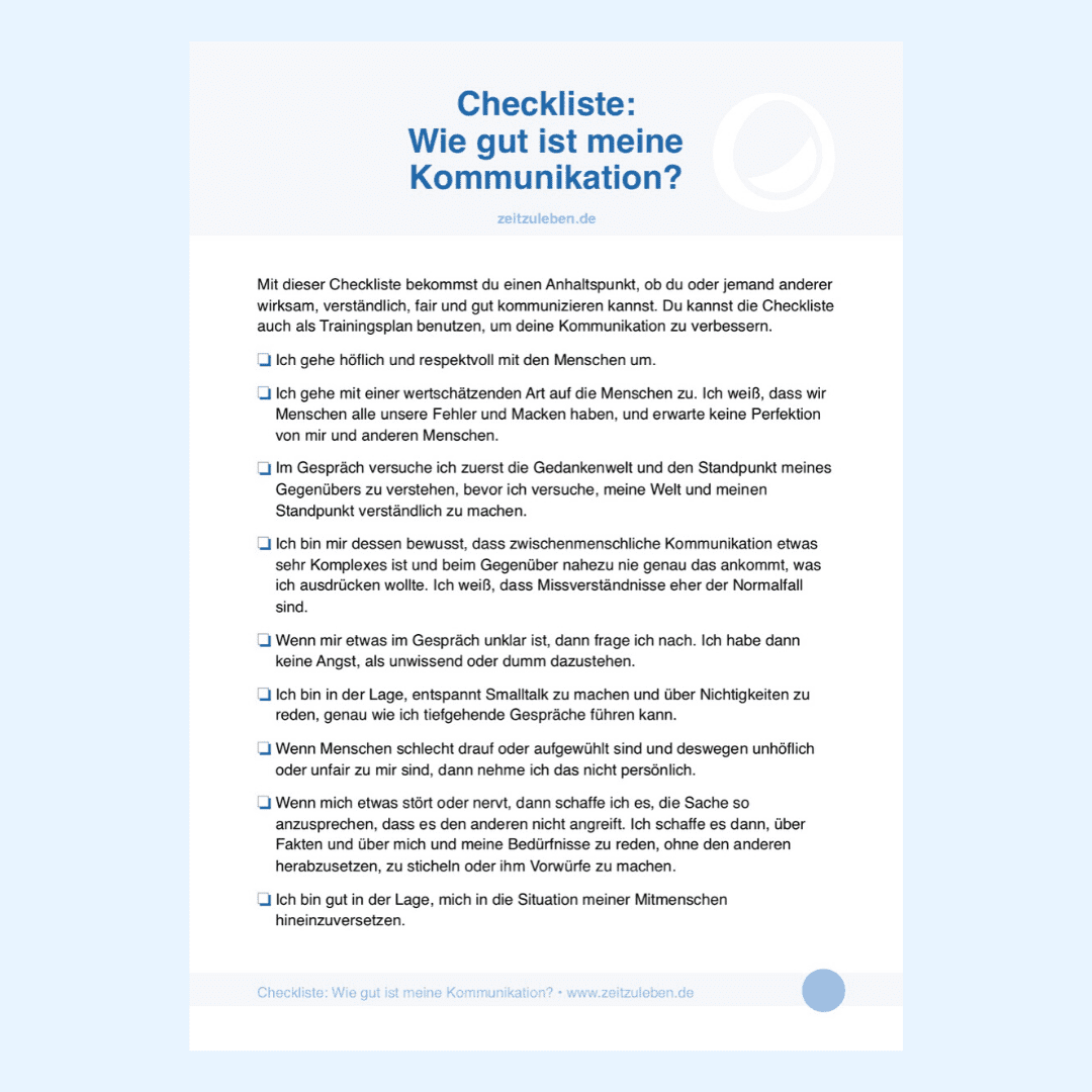 Checkliste Kommunikation