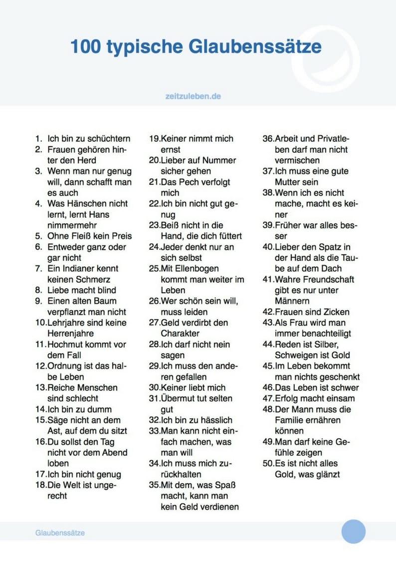100 typische Glaubenssätze